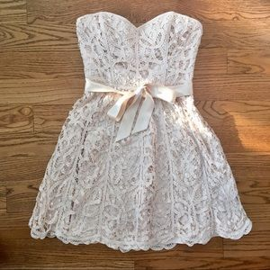 Vintage Betsey Johnson Lace Strapless Formal Dress